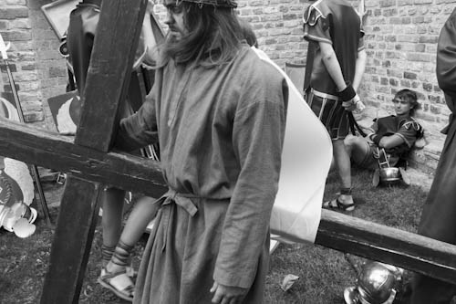 BELGIUM. Veurne (West Vlaanderen). 29/07/2012: Jesus impersonator at Penitent's Procession.