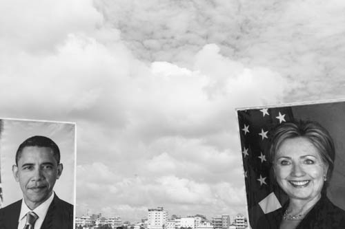 CAMBODIA. Phnom Penh. 19/11/2012: Portraits of Hillary Clinton and Barack Obama carried by the Boeung Kak Lake community demonstrating for their Human Rights ahead of the ASEAN meetings held in Phnom Penh which will be attended by U.S. President.