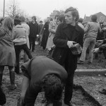 BELGIUM. Brussels. 21/04/1970: Students unpaving a road during a demonstration at the Brussels University to protest the Greek Colonel regime.
